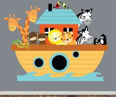 Noahs Ark Wall Decal - Childrens REUSABLE Fabric Wall Decal - EXTRA LARGE on Etsy, $160.92 AUD