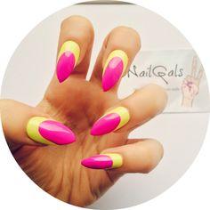 Bright yellow and purple ruffian stiletto nails www.nailgals.com #stilettonails #glueonnails #pressonnails #falsenails #nailart #naildesigns #ruffiannails