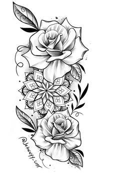 Floral Mandala Tattoo, Floral Tattoo Design, Mandala Tattoo Design, Tattoo Design Drawings, Flower Tattoo Designs, Flower Tattoos, Neue Tattoos, Body Art Tattoos, Sleeve Tattoos