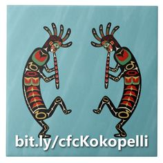 This ceramic tile shows two Kokopelli figures, painted in the style of Pacific Northwest art, dancing and playing flutes in front of a rainy blue background. http://www.zazzle.com/two_dancing_flute_playing_kokopelli_figures_tile-227326757767248775?rf=238083504576446517&tc=20160926_pint_NI #homedecor #ceramics #art #crosscultural #StudioDalio