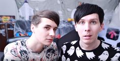 Dan is just looking suspiciously at us while Phil looks like a freaking angel.