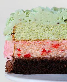Spumoni (pistachio, cherry almond, and chocolate) Cake