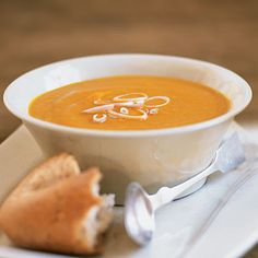 Carrot Sweet Potato Soup:  This soup gets its wonderfully creamy texture from purèed carrots and sweet potatoes rather than cream, a dairy product Willett discourages due to its high saturated-fat content.  From: health.com