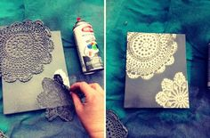 DIY Canvas Art! It would be even cooler to use several different colors of paint.