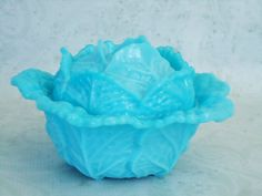 Blue Milk Glass Covered Bowl Vintage by