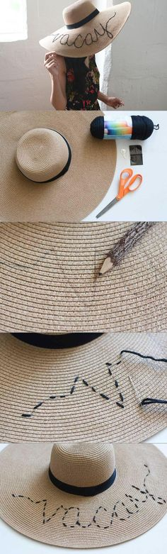 If you take a peek into my closet, you will immediately see my collection of oversized straw hats.  They are my favorite accessory for the summer and instantly make almost any outfit beach ready. I have been seeing quirky, vacation themed script straw hats all over Instagram lately and thought the detail was such a fun way to update one of my hats. You can easily do this at home in just a few steps.
