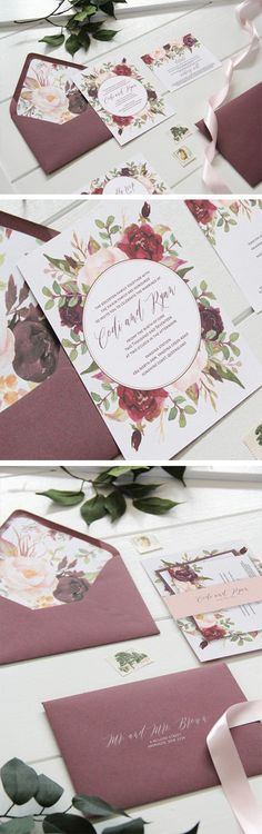 Wedding Invitations made with Watercolor Flower clip art.