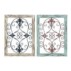 Woodland Imports 50229 Wood Metal Wall Panel with Intricate Design - Set of 2