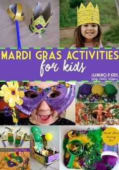 Mardi Gras Activities For Kids. Who says grown ups need to have all the fun? Incorporating kids activities can elevate any family Mardi Gras celebration. Mardi Gras Party Inspiration with Old Southern Charm Mardi Gras Activities, Carnival Activities, Carnival Crafts, Activities For Kids, Crafts For Kids, Carnival Ideas, Children Crafts, Holiday Activities, Preschool Ideas