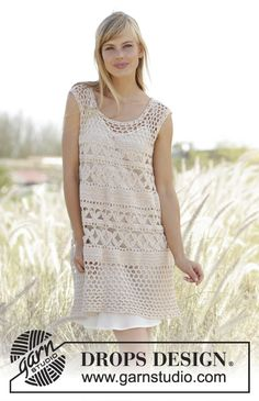 FREE PATTERN Drops 167-18, Crochet tunic with A-shape and lace pattern in Belle
