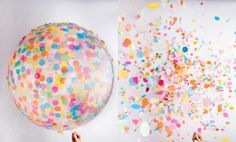 Everything is better with a Jumbo Clear Confetti balloon by Knot and Bow.  http://www.swiss-miss.com/2014/10/confetti-balloons.html