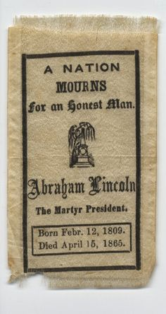 Mourning Ribbon for Abraham Lincoln, 1865.  Cornell