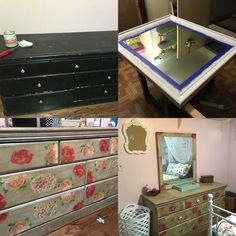 Here's my old dresser and mirror that my parents got from #gothiccabinetcraft in the freaking 90s. It was originally green and beige, but I painted it black when I was 13 because of course I did. Since it's good quality wood all it took was some elbow grease, a can of chalk paint, some modpodge and napkins and voila! I have a grown up lady dresser that's #shabbychic and functional ^.^ Found the knobs in #homegoods #diy #handmade #renovation #upcycle #grownup