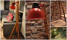Lampa w stylu loft, która powstała ze starego wojskowego reflektora i sztalug malarskich. Nóżki bejcowane i lakierowane, klosz przemalowany na inny kolor farbą do metalu