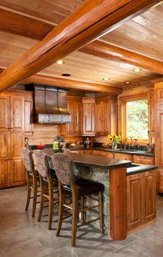 Rustic log cabin bathrooms log cabin bathroom log home for Log cabin kitchens and baths