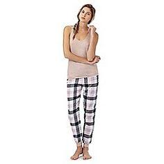 Iris & Edie - Light pink checked print pyjama set