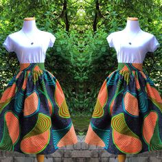 African Print Skirt The Laura Midi Skirt by CHENBURKETTNY on Etsy, $104.00
