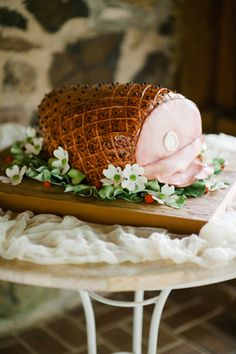 Backyard North Carolina Wedding by Oh, Darling Photo « Southern Weddings Magazine..the ham is a wedding cake..Grooms last name...Ham! FUNNY!
