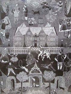 """Manor House"" lino block printed wallpaper by Marthe Armitage, 1998"