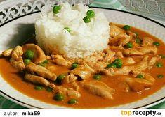 Kuřecí nudličky v omáčce s hráškem recept - TopRecepty.cz Family Meals, Thai Red Curry, Food And Drink, Chicken, Cooking, Healthy, Ethnic Recipes, Martha Stewart, Nova