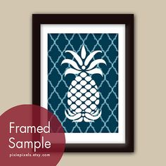 Pineapple (series B) 5x7 Art Print (Navy with Altantic Blue Stripes) Modern Vintage Inspired Kitchen Prints (Customizable Colors)