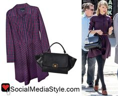 Buy Taylor Swift's gingham shirtdress here: http://rstyle.me/n/hp9cw6fbn or here: http://rstyle.me/n/hp9r26fbn and her purse here: https://cuoreandpelle.com/products/caterina-purse-black