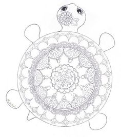 A mandala coloring page that is a turtle too!