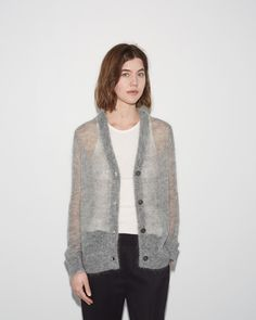 T by Alexander Wang Mohair Cardigan La Garçonne Mohair Cardigan, Knitted Poncho, Knitwear Fashion, Knit Fashion, Alexander Wang, Summer Cardigan, Angora, Cardigan Pattern, Cardigans For Women