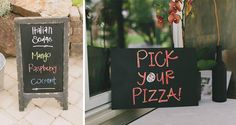 Fun wedding food and drink signage (not to mention how much we love the Italian soda and pizza bar idea!)