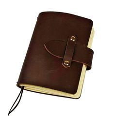 "FLEXI(""M"") - darkbrown genuine leather notebook with leather buckle Leather Buckle, Leather Cover, Cow Leather, Leather Craft, Leather Notebook, Leather Journal, Personal Organizer, Notebook Covers, Handmade Design"