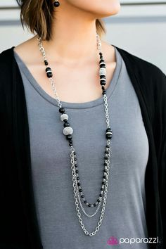 Pretty combo of black & gray. Love the necklace & earrings.