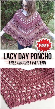 crochet Lacy Day Poncho free pattern - easy crochet poncho pattern for beginners Crochet Shawl Diagram, Crochet Wrap Pattern, Crochet Poncho Patterns, Crochet Wool, Granny Square Crochet Pattern, Shawl Patterns, Easy Crochet, Free Crochet, Crochet Vests
