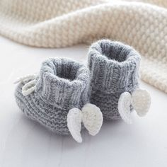 Angel Wings Cashmere Booties. Lovely soft cashmere baby booties with angel wings. Made from our super soft 85% cashmere blend yarns