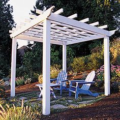 How to build a basic square pergola - This handsome wood trellis turns a patch of backyard into a shady kick-back space. For the patio. Diy Pergola, Building A Pergola, Diy Patio, Pergola Ideas, Arbor Ideas, Landscaping Ideas, Backyard Ideas, Garage Pergola, Modern Pergola