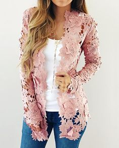 ivrose / Floral Crochet Hollow Out Cardigan Coat Trend Fashion, Womens Fashion, Cardigans For Women, Pattern Fashion, Sleeve Styles, Wide Leg, Dresses For Work, Couture, Clothes For Women