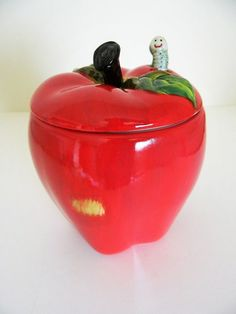 56469bf0447 Red Apple Worm Snack Treat Jar Canister Teacher Ranger Gift New In Box