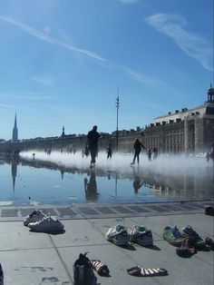 Mirror Fountain in Bordeaux, France.