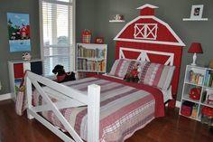 This would be very cute in a little boys John Deere room. Boys Farm Bedroom, Kids Room Bed, Barn Bedrooms, Girls Bedroom, Farm Nursery, Trendy Bedroom, Big Girl Rooms, Kid Rooms, Bedroom Themes