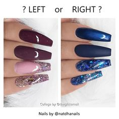 "827 Likes, 53 Comments - TheGlitterNail  Get inspired! (@theglitternail) on Instagram: ""✨ Left or Right? - - • - - Left: Red-Brown Coffin Nails with Glitter or Right: Blue/Dark Blue…"""