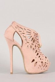 Wild Diva Lounge Jacklyn-09 Perforated Stiletto Platform Heel.I love the shape.If only theese were metallic pink.