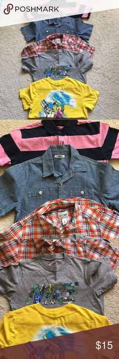 Gapkids Boy tops size 8(M) Navy and pink stripe - Gapkids / Jean top NWT - Old Navy / Plaid- Children's place / grey- Nike top / yellow top - Gapkids Shirts & Tops Polos