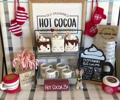 Farmhouse Galvanized Two Tiered Stand Office Christmas, Christmas Coffee, Christmas Kitchen, Winter Christmas, Cocoa Tea, Hot Cocoa Bar, Christmas Hot Chocolate, Hot Chocolate Bars, Gingerbread Christmas Decor