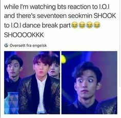 BAHAHAHAHHAHA I don't even know what this is talkin bout because I don't I.O.I., but MMA Seventeen & BTS- Seokmin & JungKook