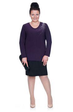 Prosta fioletowa bluzka ze zdobieniem - Modne Duże Rozmiary