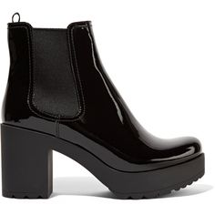 Prada Patent-leather ankle boots ($700) ❤ liked on Polyvore featuring shoes, boots, ankle booties, zapatos, footwear, black booties, short black boots, high heel bootie, black bootie and black patent booties