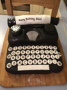 Typewriter cake. Lots of fun to make and appreciated by aspiring authors. :)