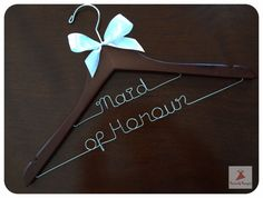 Personalised Custom made Wedding Wooden Coat Dress Hangers with Flower or Bow -(For Longer Names, Double Decker) on Etsy, £20.84