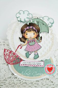 Card by Arlene Cuevas featuring Club La-La Land Crafts (March 2015) exclusive Singing in the Rain Marci, Rainy Day Stamp Set and these Dies - Curly Clouds, Filigree Umbrella, Raindrops :-)   Club La-La Land Crafts subscription details are here - http://lalalandcrafts.com/Club_La-La_Land_Crafts.html    Coloring details and more Design Team inspiration here - http://lalalandcrafts.blogspot.ie/2015/04/club-la-la-land-crafts-march-2015-club.html