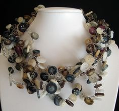 Wire crocheted button necklace