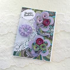 Card Paper Quilled Greeting Purple Fringed by EnchantedQuilling